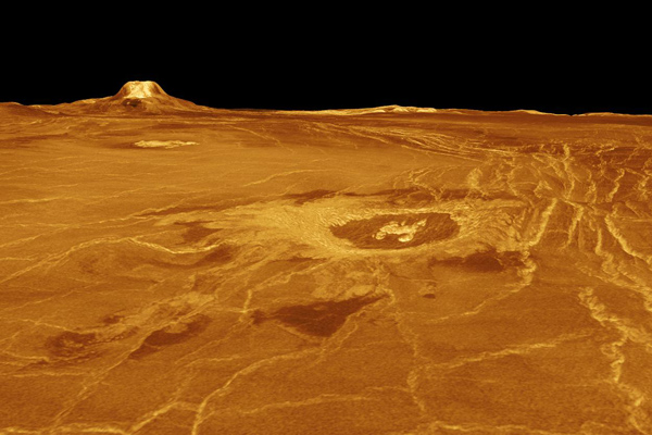 3D view of Venus' Eistla Regio produced from Magellan radar data