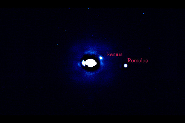 Adaptive Optics observations of 87 Sylvia, showing its two moons, Remus and Romulus