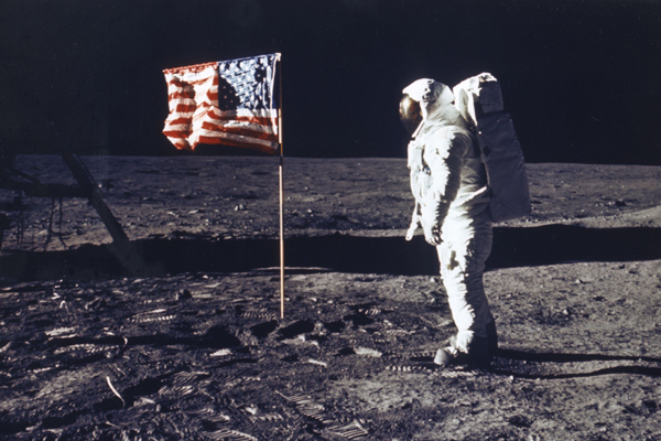 Buzz Aldrin is photographed by Neil Armstrong on the Moon