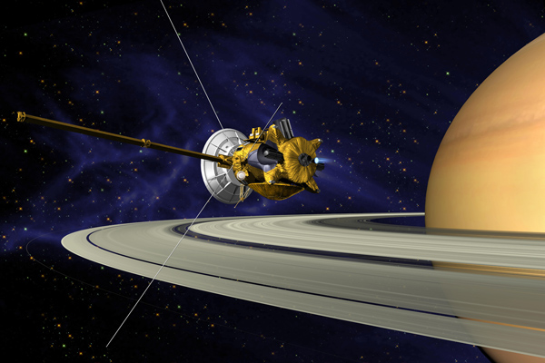 Artist's concept of Cassini's orbit insertion