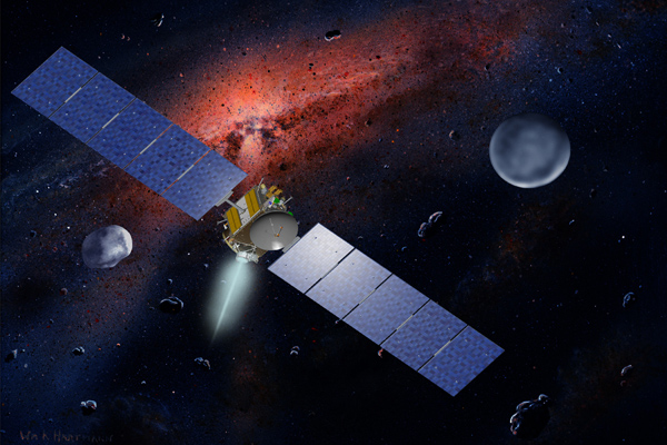 Artist's concept of the Dawn spacecraft with Vesta and Ceres