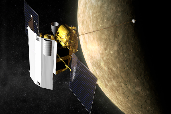 Artist's impression of MESSENGER orbiting Mercury