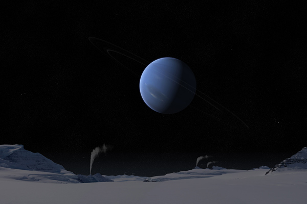 Artist's impression of Neptune View from Titan