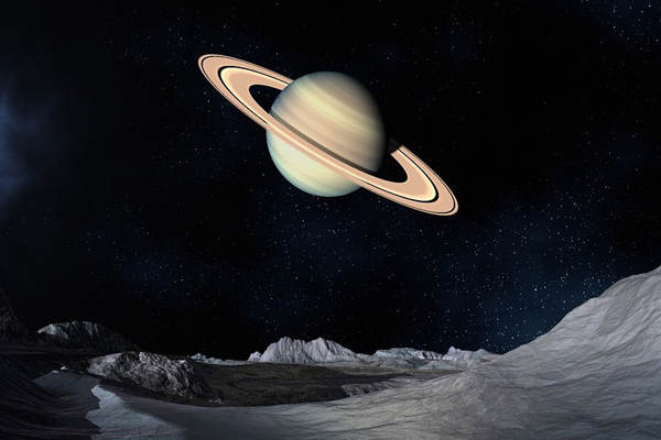 Artist's impression of Saturn View from Iapetus