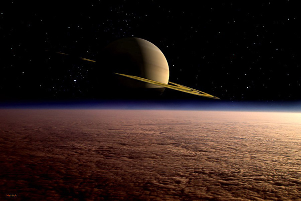 Artist's impression of Saturn View from Titan