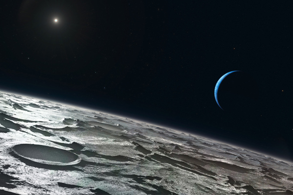 Artist's impression of Triton, showing its tenuous atmosphere just over the limb