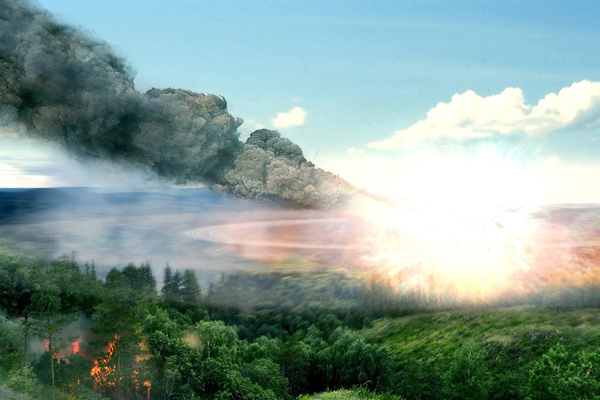Artist's impression of Tunguska event