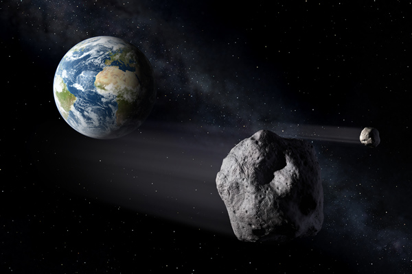 Artist's impression of a Near-Earth Asteroid passing by Earth