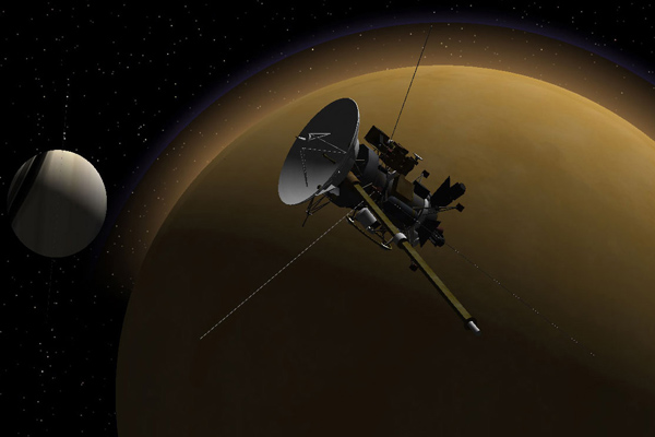 Cassini encounter with Titan, artist's concept
