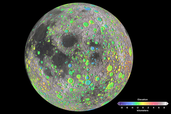 Craters on the Moon, image centered on 70 degrees E.
