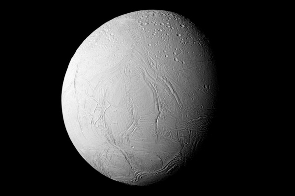 Enceladus hemisphere in natural colour by Cassini