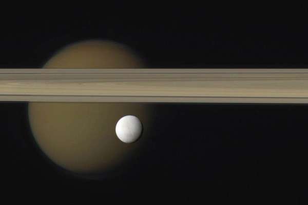 Enceladus, Saturn's rings and other moon, Titan