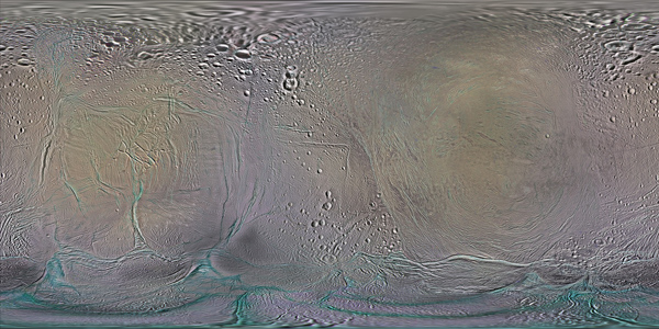 Enhanced-color global map of Enceladus