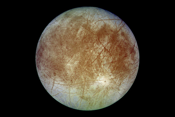 Europa trailing hemisphere in approximate natural color