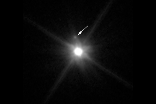 Makemake with its moon by Hubble Space Telescope