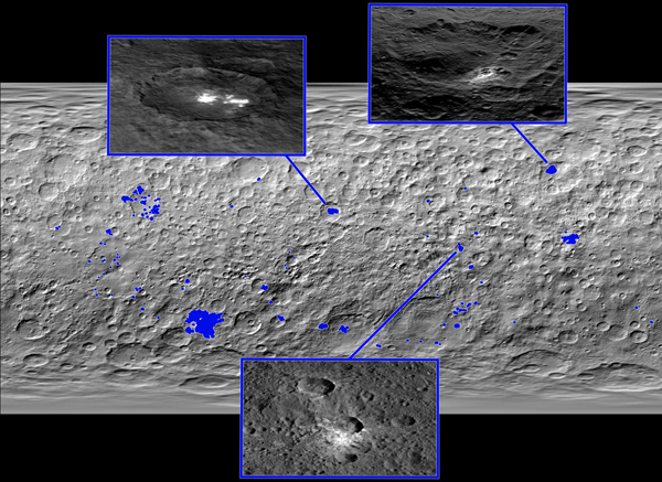 Map of bright spots on Ceres (released 10 December 2015)
