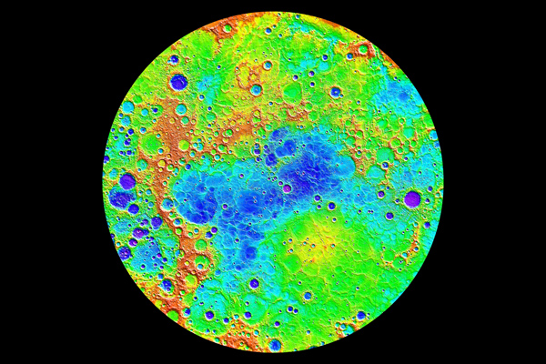 Map of Mercury's northern hemisphere, lowest (purple) to 10 km (6.2 mi) highest (red)