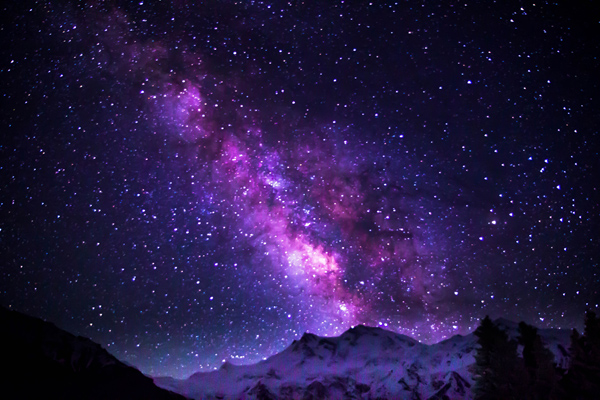 Milky Way Galaxy shimmering over Nanga Parbat, Pakistan