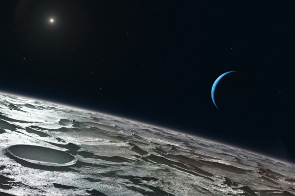 Neptune view from Triton surface, artist's concept