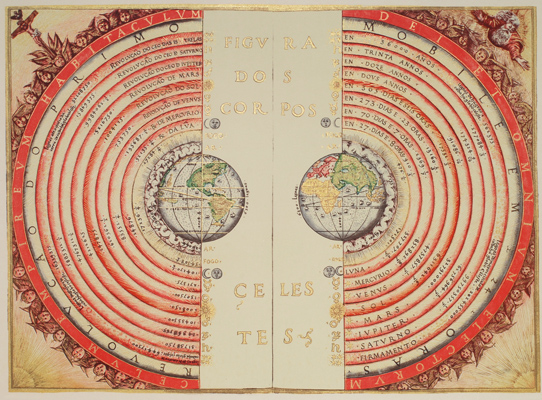 An illustration of the Ptolemaic geocentric system by Bartolomeu Velho, 1568