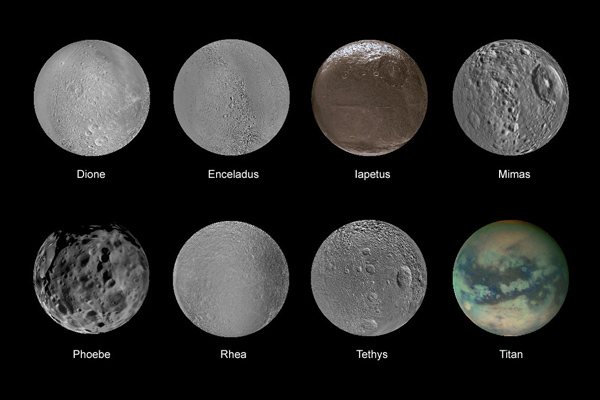 Most-known Saturn's satellites and moons