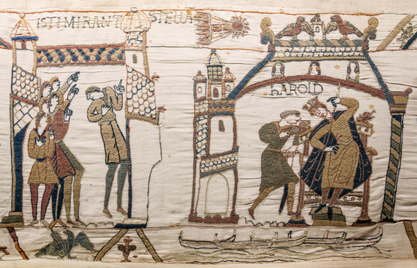 The Halley's comet on Bayeux Tapestry, made in the 1070s